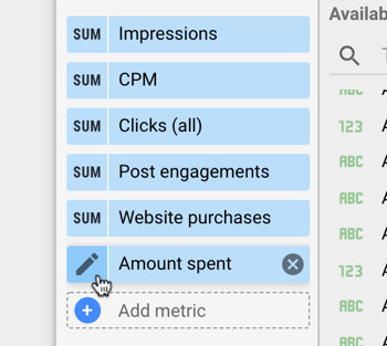 Use Google Data Studio to analyze your Facebook ads, step 11, edit metric settings for chart data