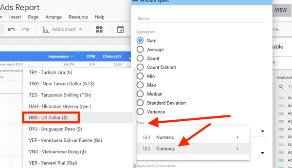 Use Google Data Studio to analyze your Facebook ads, step 12, edit related settings for chart data metrics