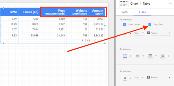 Use Google Data Studio to analyze your Facebook ads, step 13, option to wrap header text