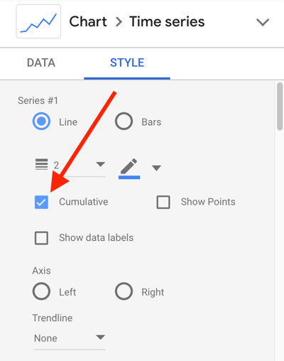 Use Google Data Studio to analyze your Facebook ads, step 24, chart style setting for cumulative data line