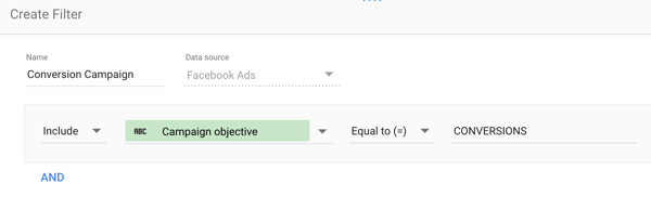 Use Google Data Studio to analyze your Facebook ads, step 18, filter settings to narrow chart data