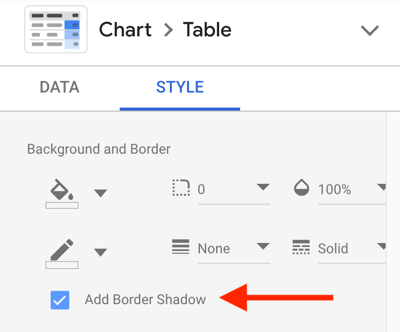 Use Google Data Studio to analyze your Facebook ads, step 19, option to add a border shadow for appearance