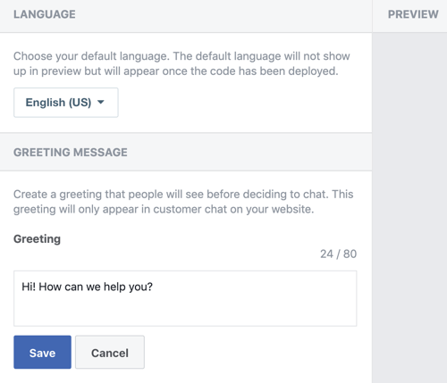 Use Google Tag Manager with Facebook, step 10, setting for preferred language and welcome greeting for your Facebook Customer Chat plugin