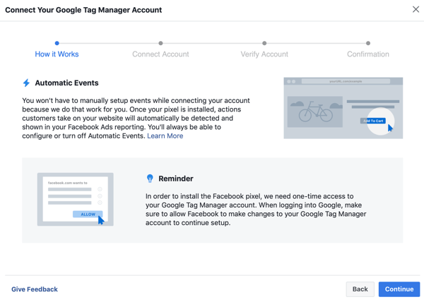 Use Google Tag Manager with Facebook, step 6, continue button when connecting Google Tag Manager to your Facebook account
