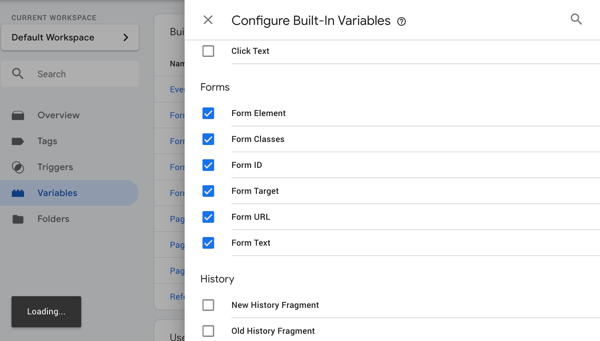 Use Google Tag Manager with Facebook, step 18, menu option to configure Google Tag Manager variables