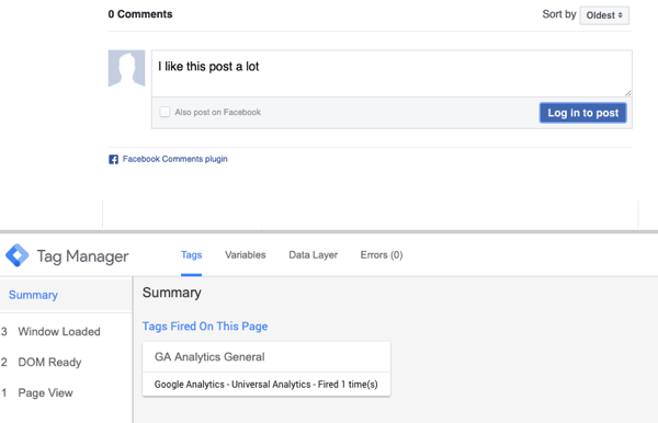 Use Google Tag Manager with Facebook, step 23, preview of comment with summary selection for fired Facebook Tag