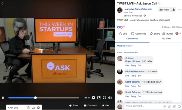 Use a six-step workflow to create video for multiple platforms, example of a live stream Facebook video from Jason McCabe Calacanis