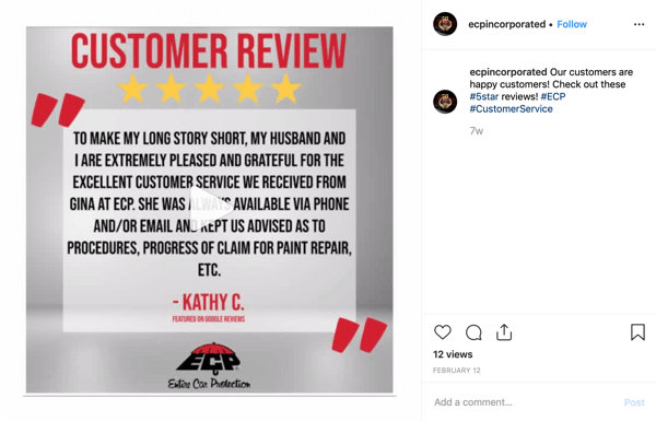 How to use social proof in your marketing, example spotlighted customer review on social of ecpincorporated