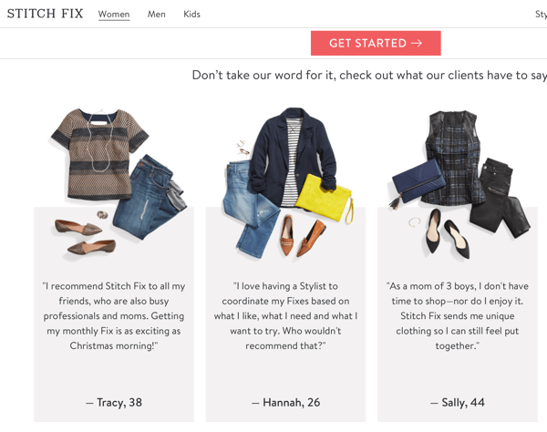 How to use social proof in your marketing, example reviews on Stitch Fix website