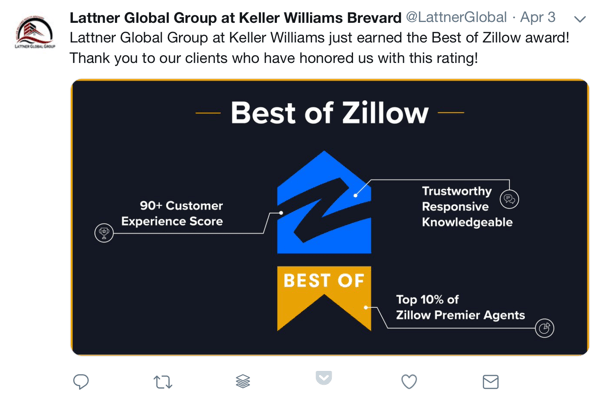 How to use social proof in your marketing, example award and social thank to clients by Lattner Global Group at Keller Williams Brevard