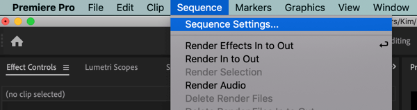 Use a six-step workflow to create video for multiple platforms, step 1, create separate Premiere Pro 16:9 and 1:1 project sequence settings