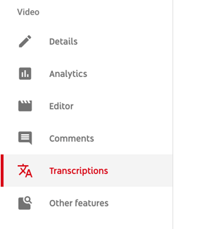 Use a six-step workflow to create video for multiple platforms, step 5, menu option to access transcriptions tab for your YouTube video