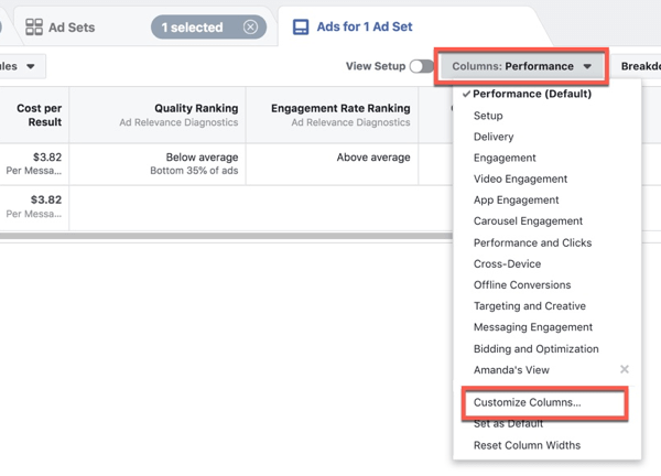 Customizing Facebook Ads Manager to customize the columns.