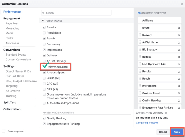 Add Relevance Score to your Facebook Ads Manager reporting columns.