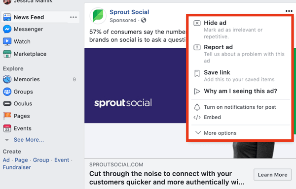 Research your competitors' Facebook ads step 9.