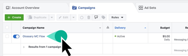 Locate your Campaign Name in Facebook Ads Manager.
