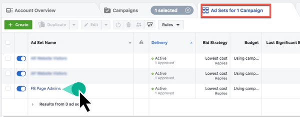 Locate your Ad Set in Facebook Ads Manager.