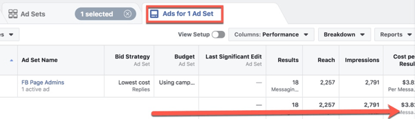 View Facebook ad performance metrics in Facebook Ads Manager.
