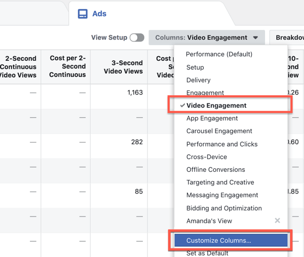 Customize report columns in Facebook Ads Manager.