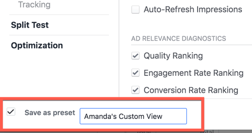 Saving a custom report view in Facebook Ads Manager.