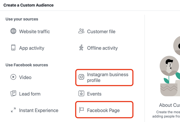 Use Facebook ads to advertise to people who visit your Facebook page or Instagram, Step 1.