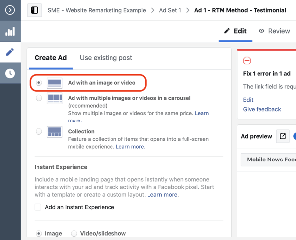 Use Facebook ads to advertise to people who visit your website, Step 10.