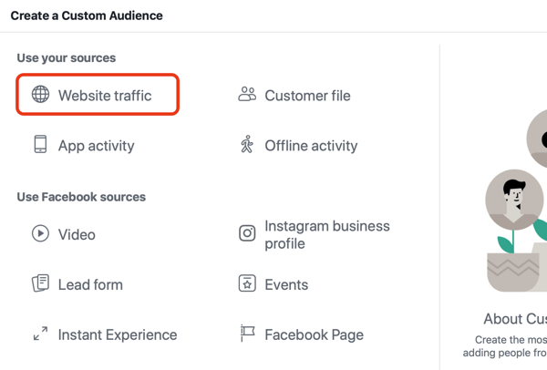 Use Facebook ads to advertise to people who visit your website, Step 2.