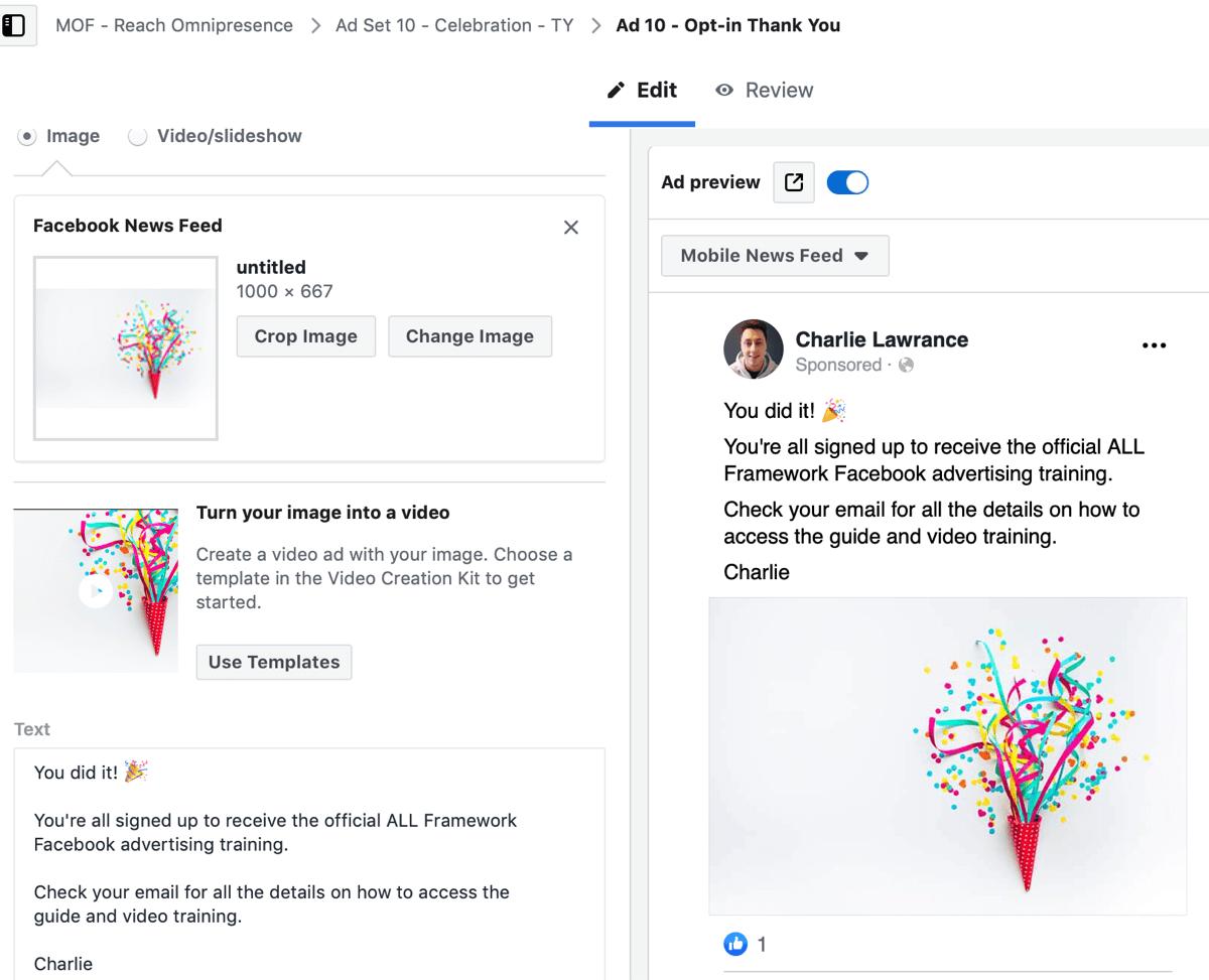 Créez une campagne Facebook pour les annonces, étape 9.