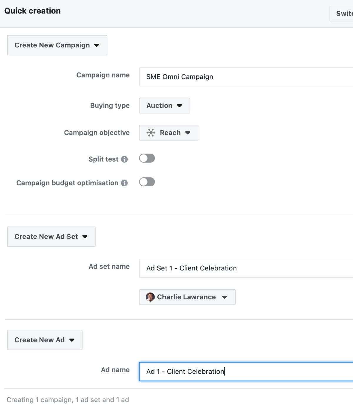 Créez une campagne Facebook pour atteindre les annonces, étape 3.