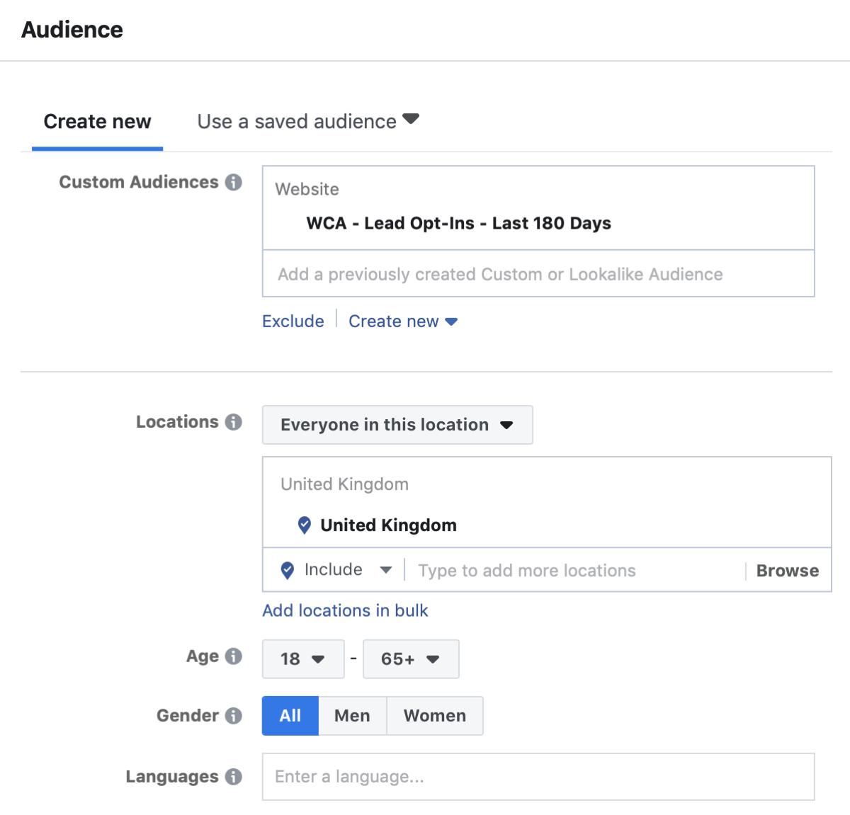 Créez une campagne Facebook pour atteindre les annonces, étape 4.