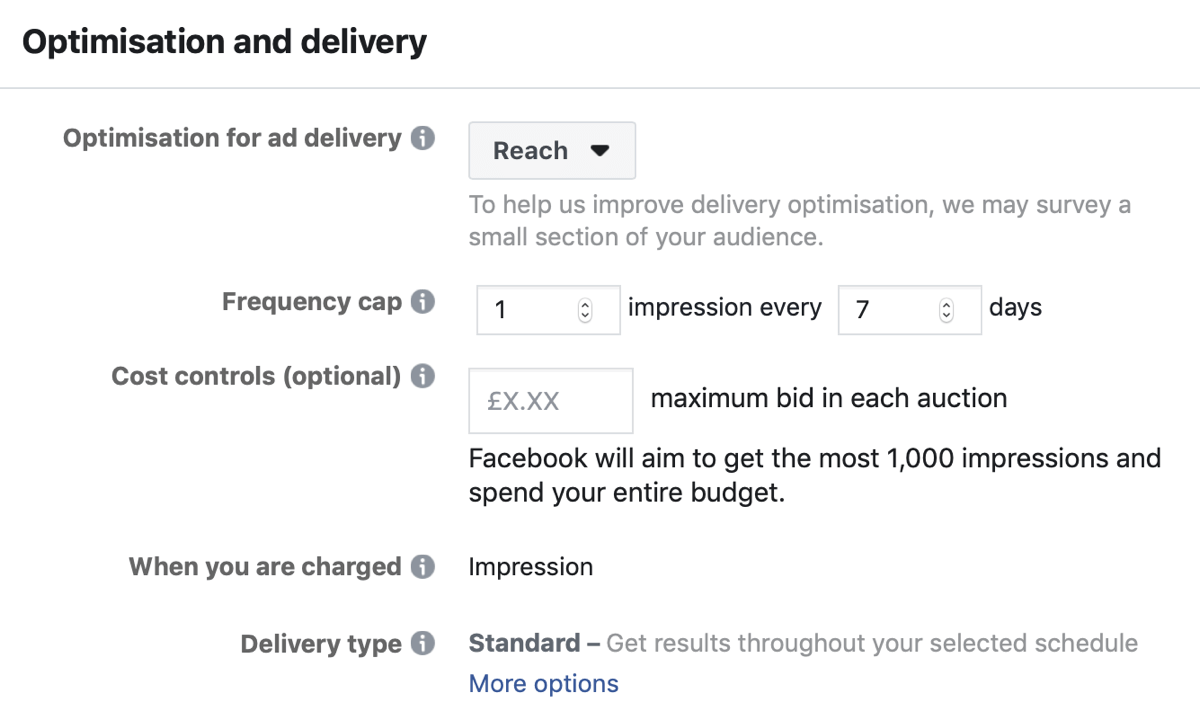 Créez une campagne Facebook pour atteindre les annonces, étape 5.