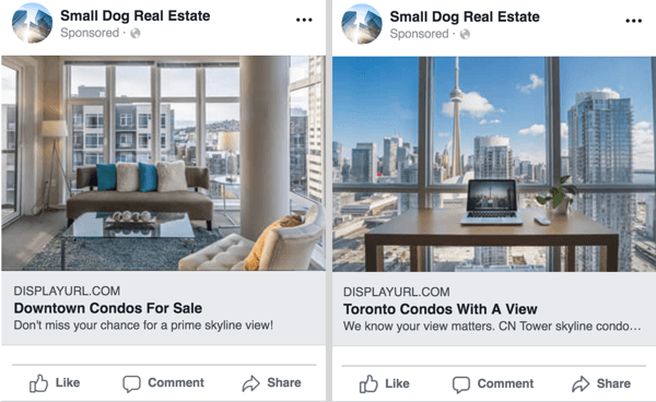 Facebook ad examples.