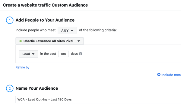 Create a Facebook ads reach campaign, step 2.