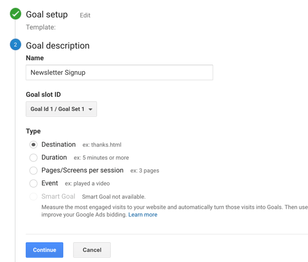 Set up Google Analytic Goals for Instagram Stories, Step 6.