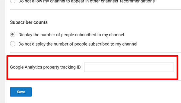 Google Analytics how to connect property tracking ID to YouTube channel step 2