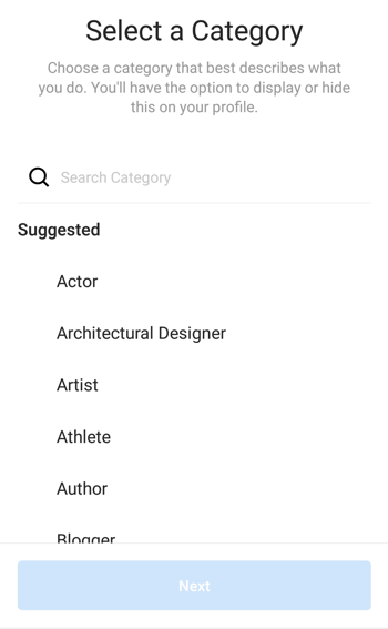 Instagram Creator Profile Category selection, Step 1.