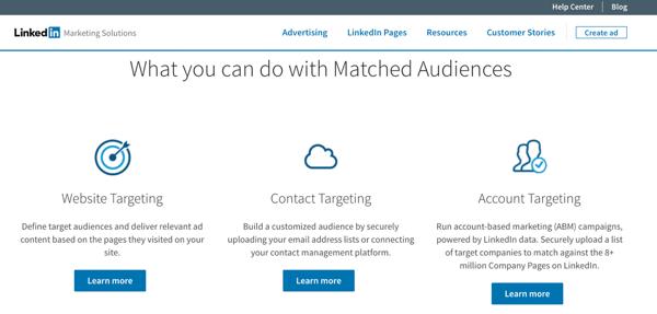 Crea segmenti di pubblico corrispondenti a LinkedIn per utilizzare il retargeting del sito Web, il targeting per account e il targeting per contatto con i tuoi annunci LinkedIn.