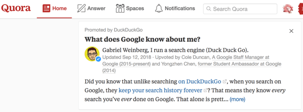 Use Promoted Answers for more visibility on Quora.