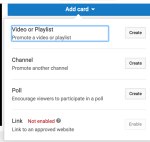 Use YouTube cards to extend your channel's watchtime.