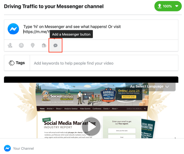 Facebook Messenger M.Me link, step 1.