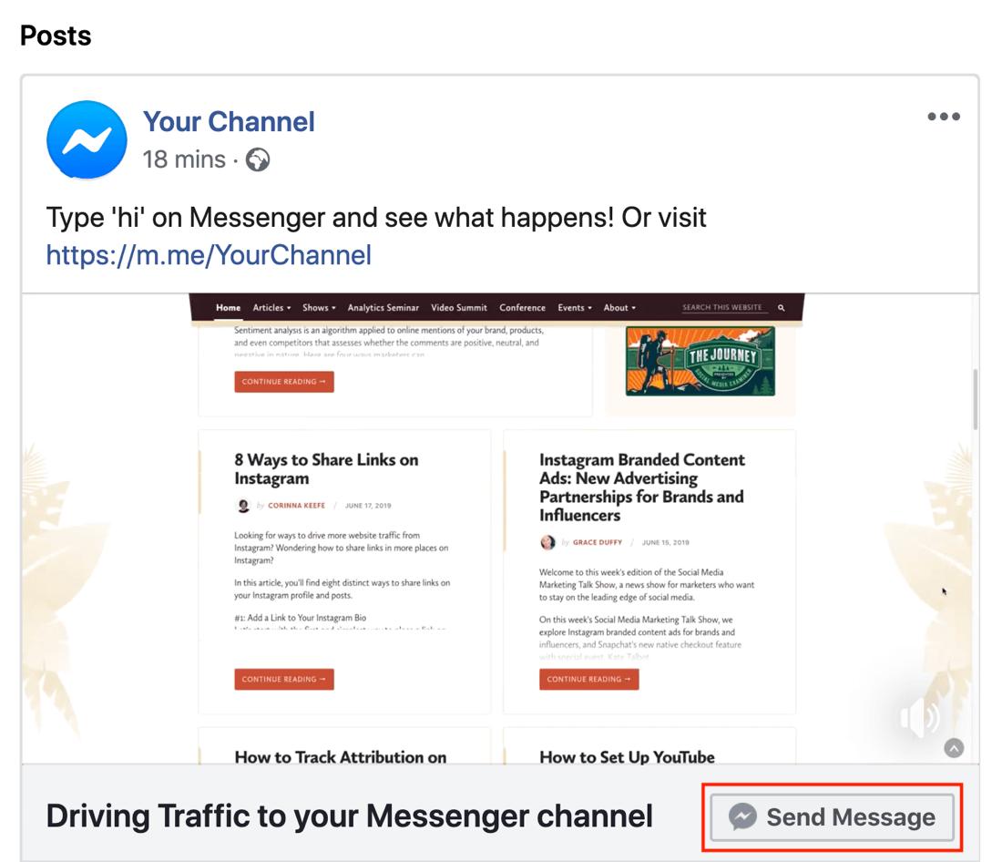 Facebook Messenger M.Me link, step 2.