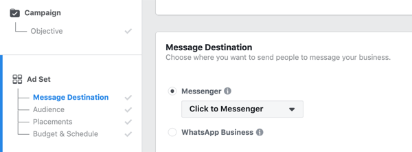 Facebook Click to Messenger ads, step 1.