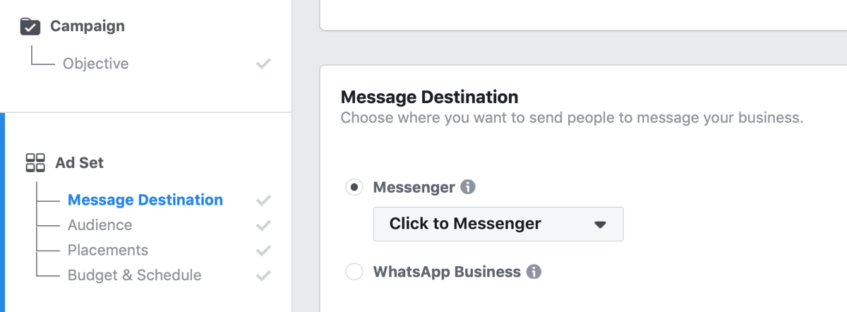 Facebook Click to Messenger ads, step 1.