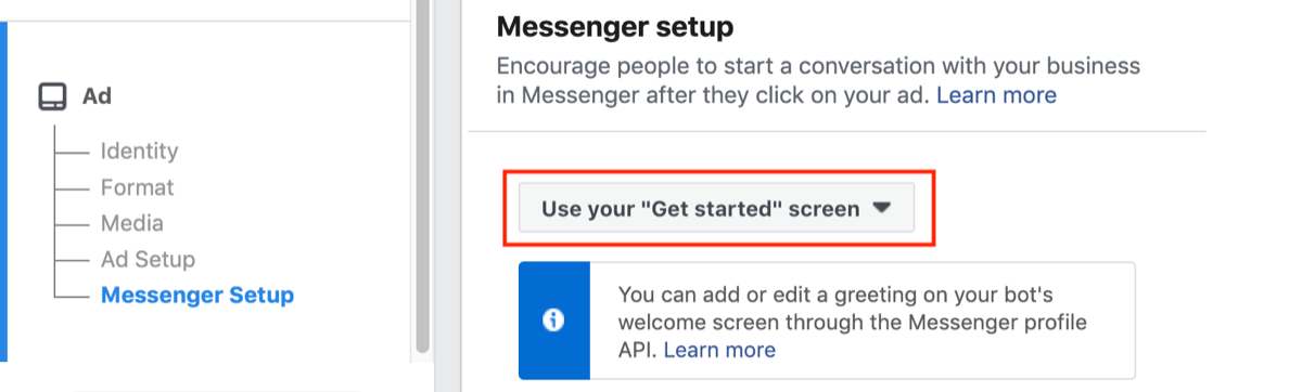 Facebook Click to Messenger ads, step 2.