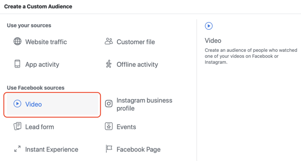 Create the Facebook custom audience of video viewers, step 1.