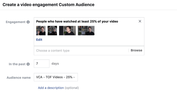 Create the Facebook custom audience of video viewers, step 2.