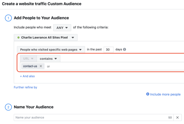 Create Facebook website custom audience, step 1.