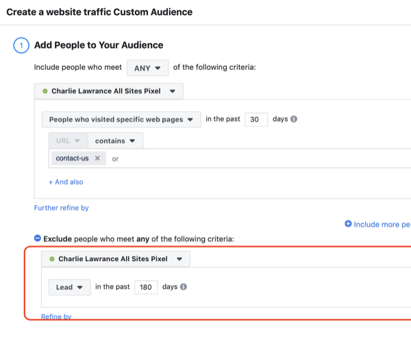 Create Facebook website custom audience, step 2.
