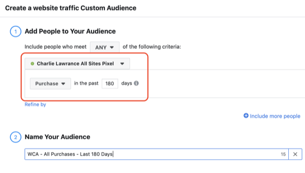Create the Facebook lookalike audience, step 2.