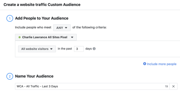 Create the Facebook lookalike audience custom website visitors, step 1.